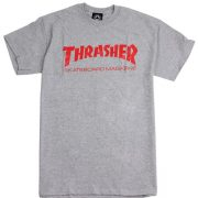 Skate Mag Logo - T Shirt - Grey/Red-0