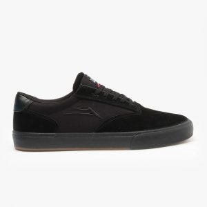 Lakai Guymar Shoes – Black/Black Suede – Side View