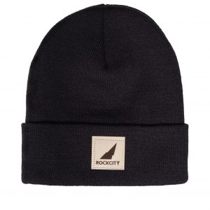 Rockcity Leather Patch Beanie - Black