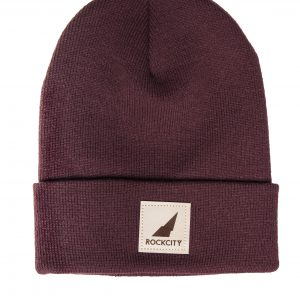 Rockcity Leather Patch Beanie - Maroon