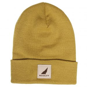 Rockcity Leather Patch Beanie - Yellow