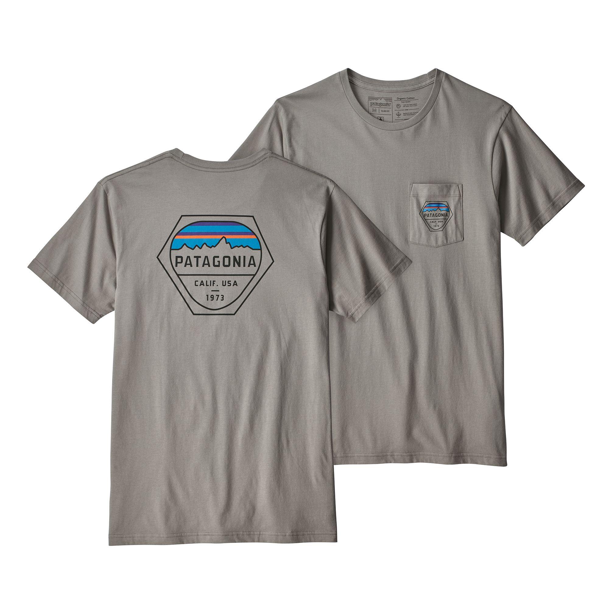 Patagonia Fitz Roy Hex Organic Pocket T-Shirt - Feather Grey ... 37dfdff00f48