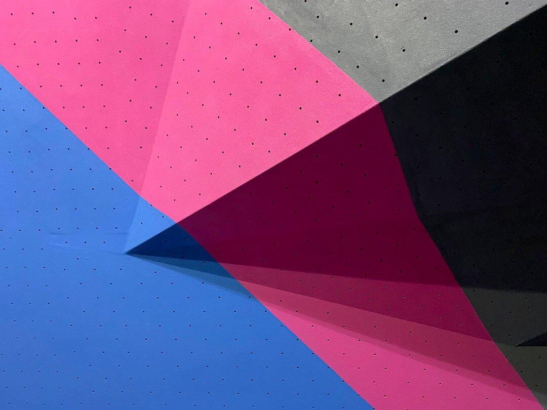 rockcity pro wall textured climbing wall piant - blue pink grey - close up