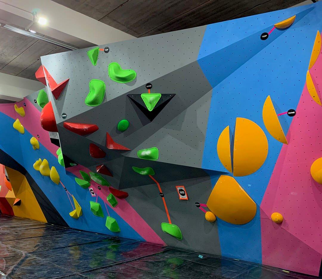 rockcity pro wall textured climbing wall piant - blue pink grey - full set wall