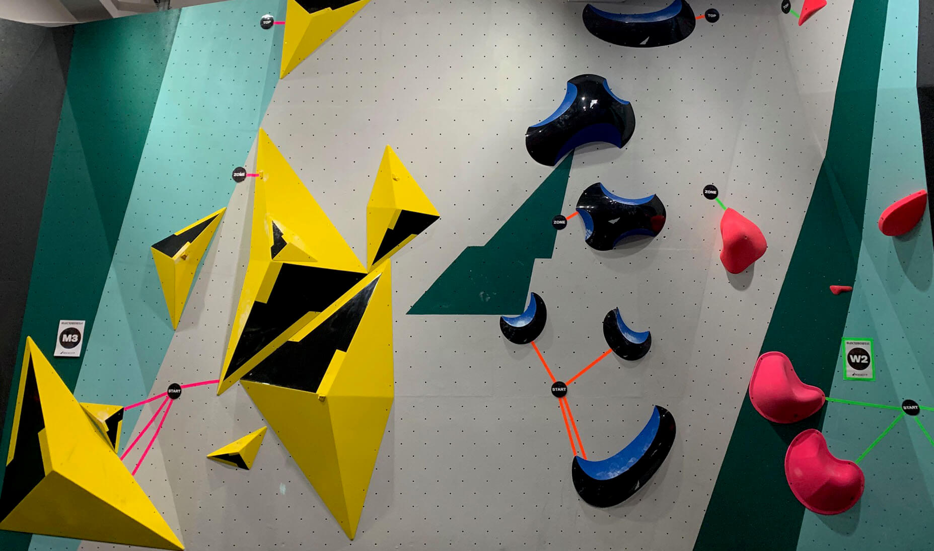 rockcity pro wall textured climbing wall piant - cyan grey - set wall