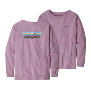 Patagonia Womens Long Sleeve Pastel P-6 Logo Responsibili-T Verbana Purple