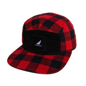 5 panel plaid strapback black and red black patch